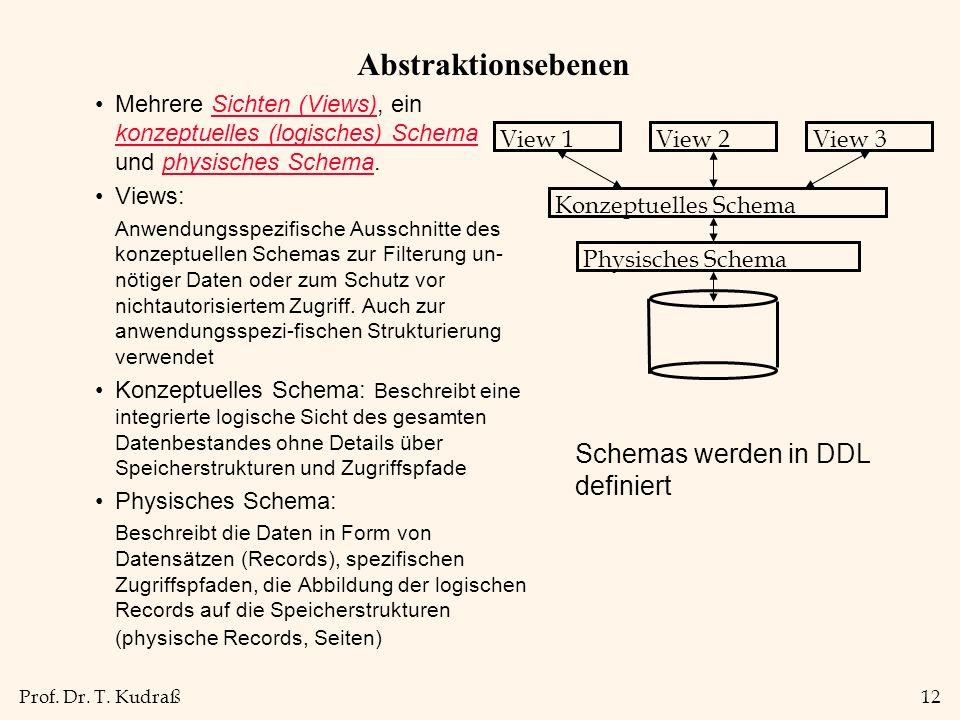 Abstraktionsebenen Schemas werden in DDL definiert