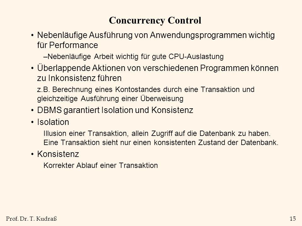 Concurrency Control Nebenläufige Ausführung von Anwendungsprogrammen wichtig für Performance. Nebenläufige Arbeit wichtig für gute CPU-Auslastung.