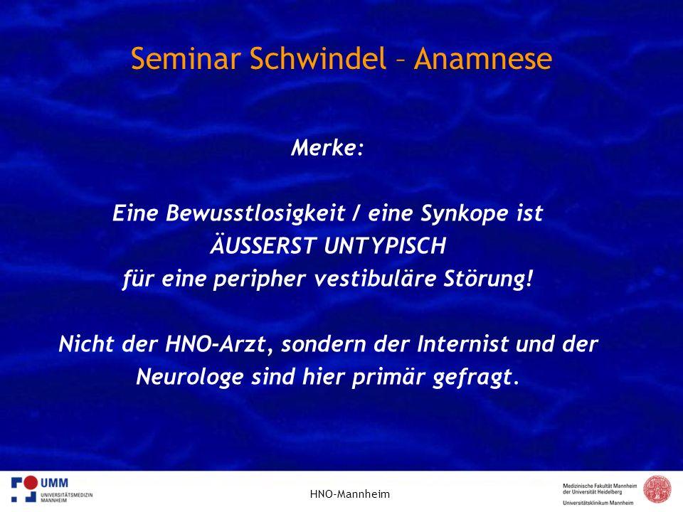 Seminar Schwindel – Anamnese