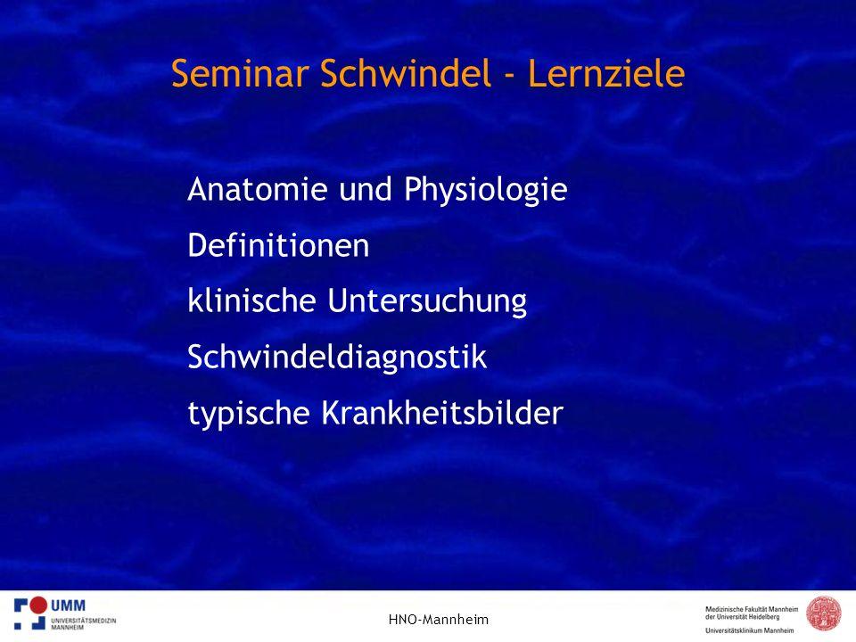 Seminar Schwindel - Lernziele