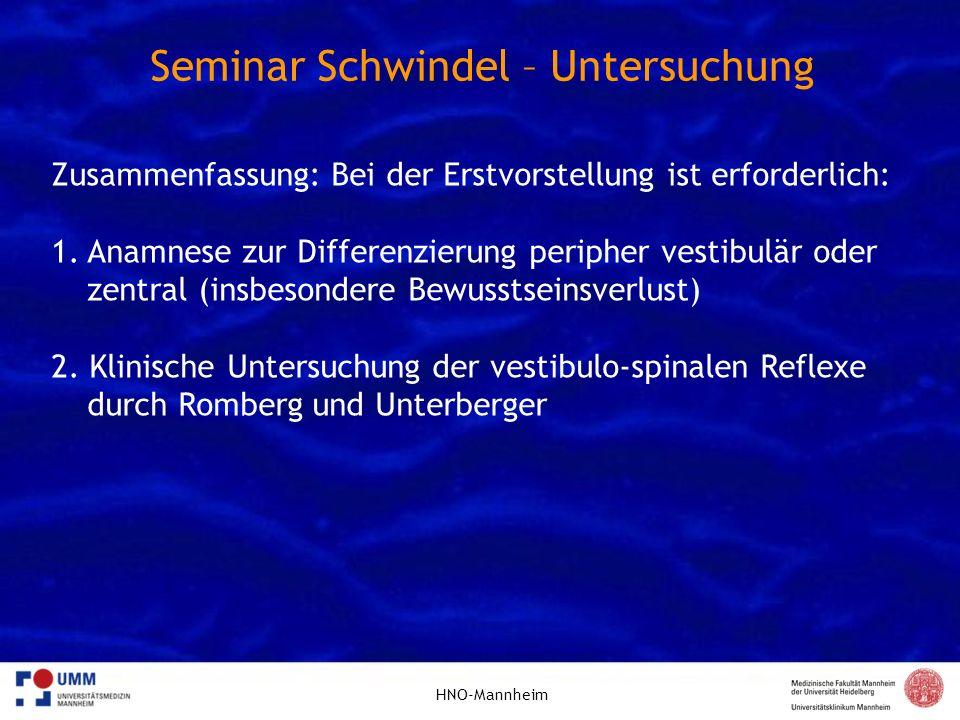 Seminar Schwindel – Untersuchung