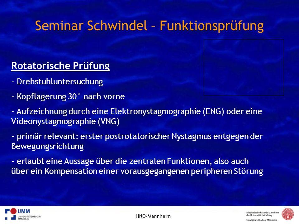 Seminar Schwindel – Funktionsprüfung