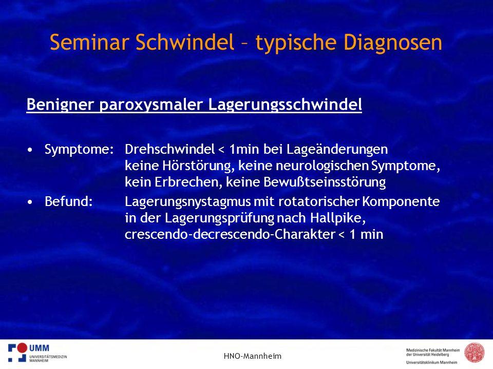 Seminar Schwindel – typische Diagnosen