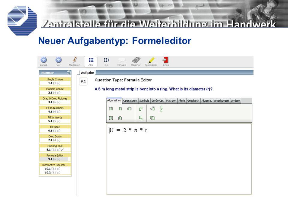 Neuer Aufgabentyp: Formeleditor