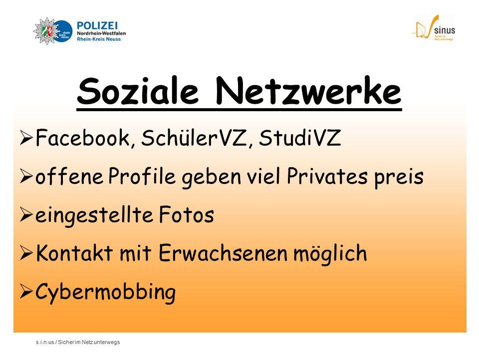Soziale Netzwerke Facebook, SchülerVZ, StudiVZ