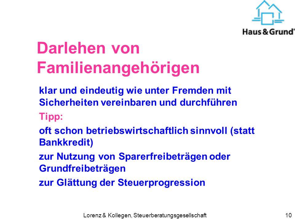 Darlehen von Familienangehörigen