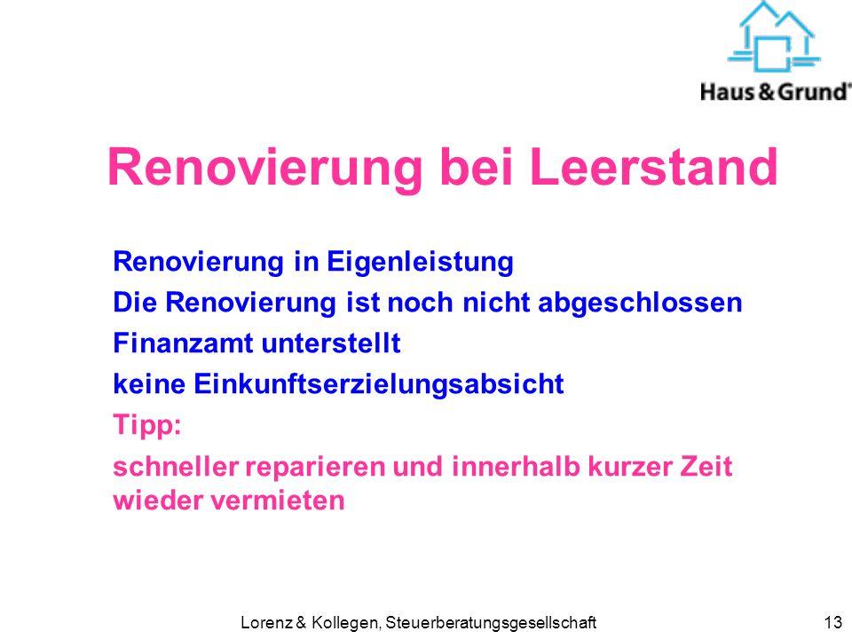 Renovierung bei Leerstand