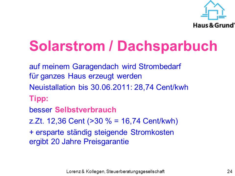 Solarstrom / Dachsparbuch