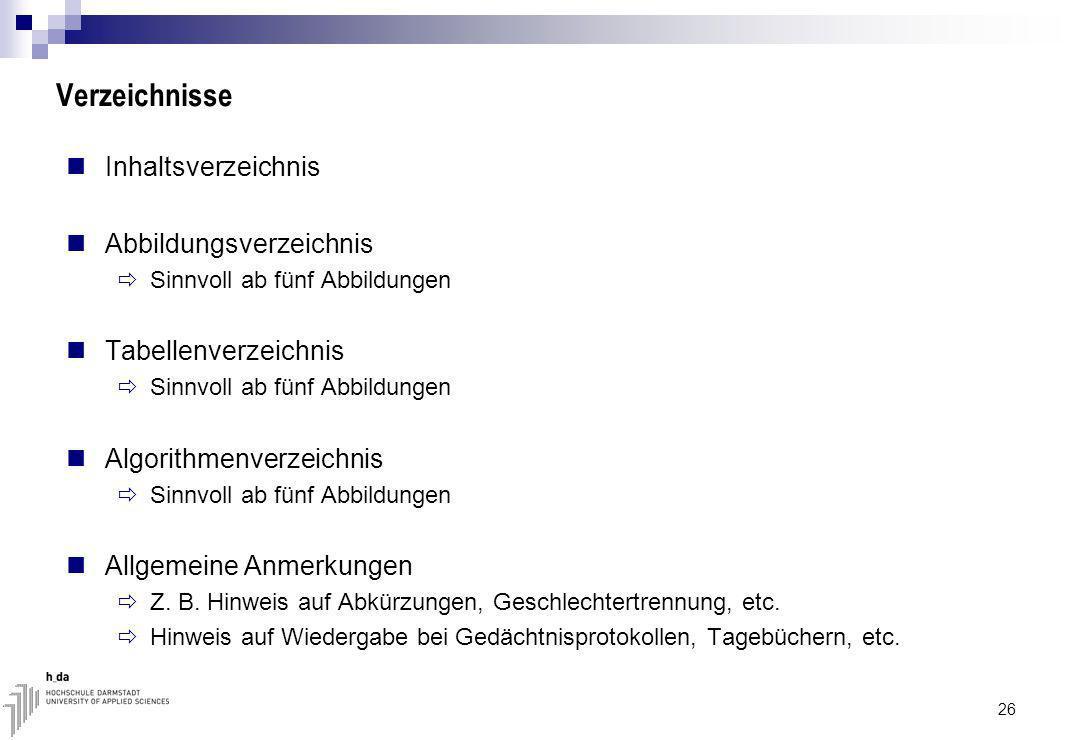 Verzeichnisse Inhaltsverzeichnis Abbildungsverzeichnis