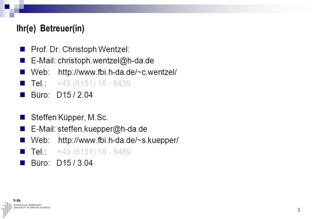 Ihr(e) Betreuer(in) Prof. Dr. Christoph Wentzel: