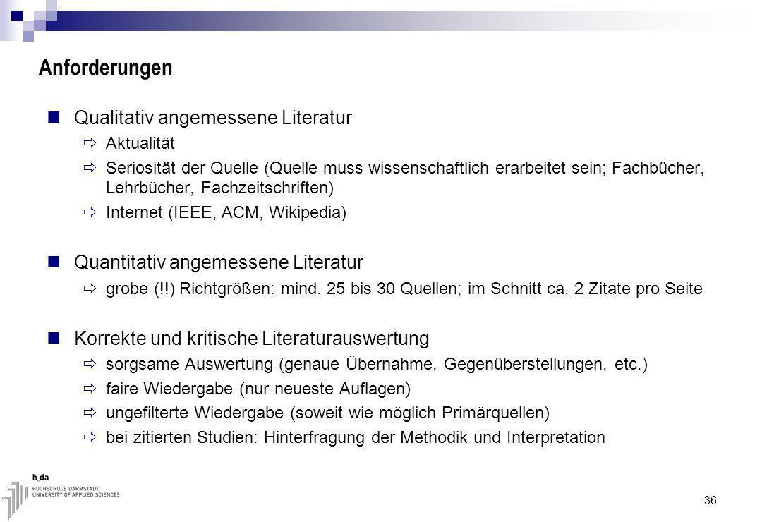 Anforderungen Qualitativ angemessene Literatur