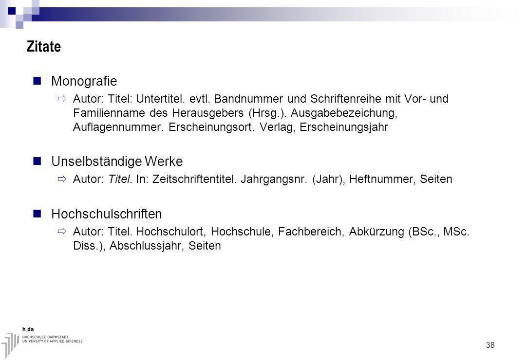 Zitate Monografie Unselbständige Werke Hochschulschriften