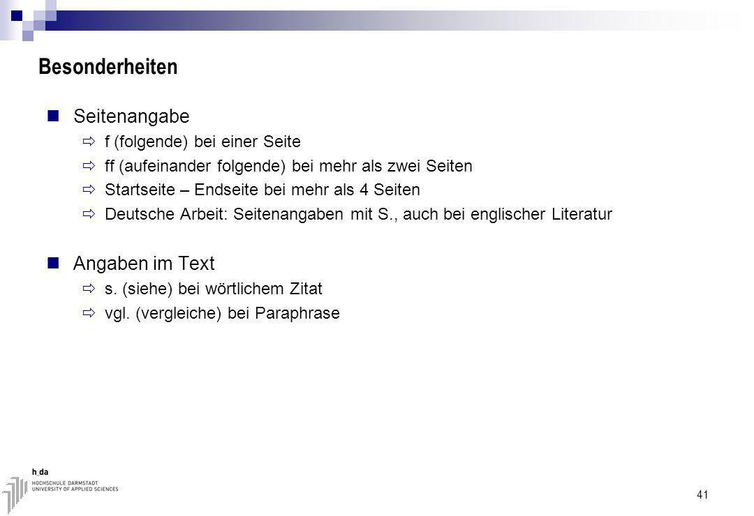 Besonderheiten Seitenangabe Angaben im Text