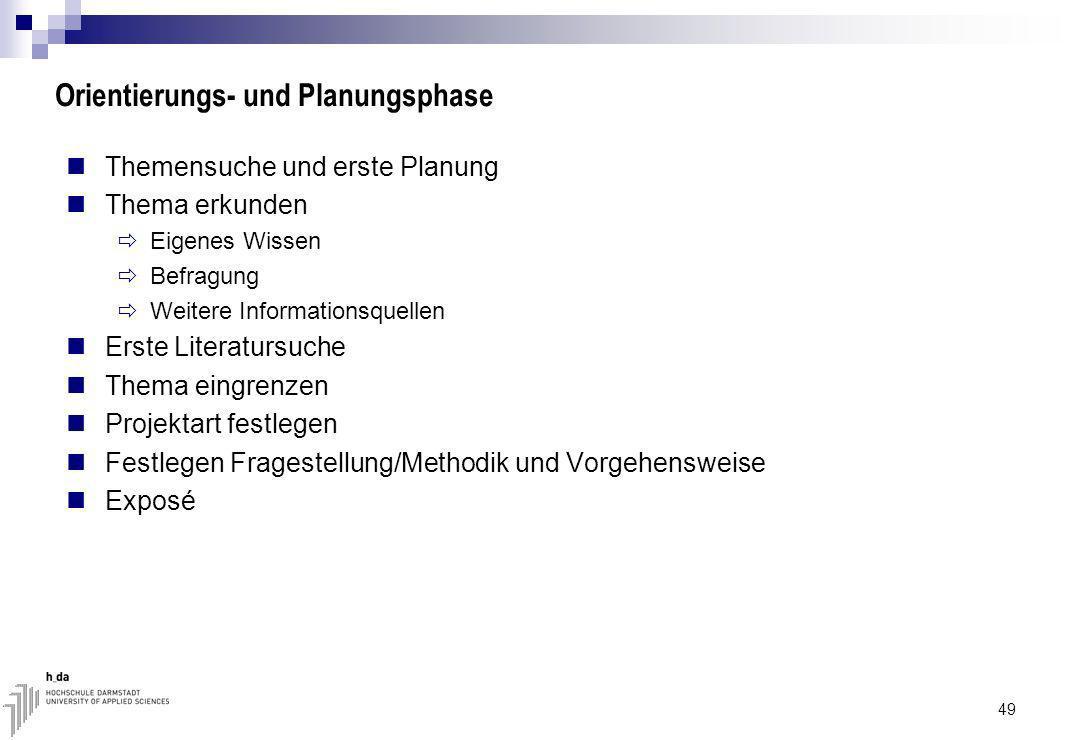 Orientierungs- und Planungsphase