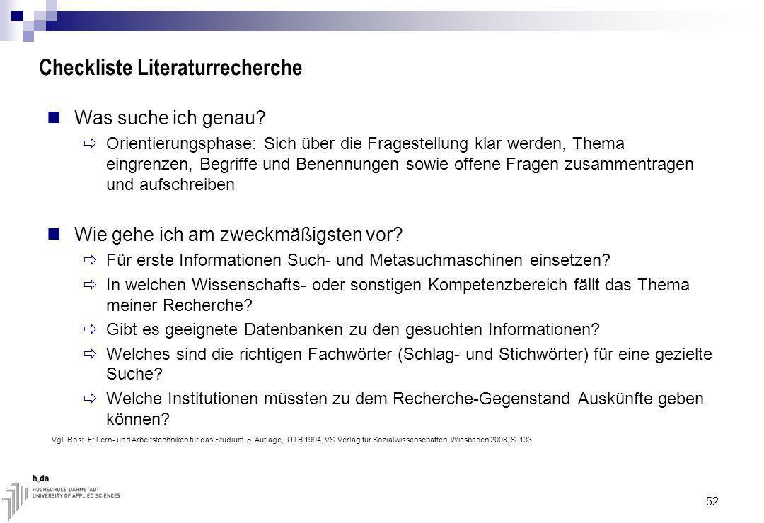 Checkliste Literaturrecherche