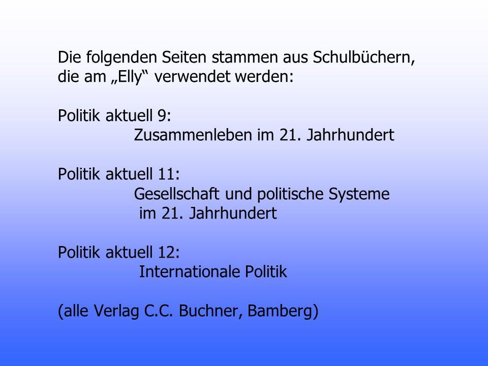 """Die folgenden Seiten stammen aus Schulbüchern, die am """"Elly verwendet werden: Politik aktuell 9: Zusammenleben im 21."""