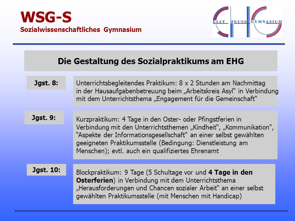 Die Gestaltung des Sozialpraktikums am EHG