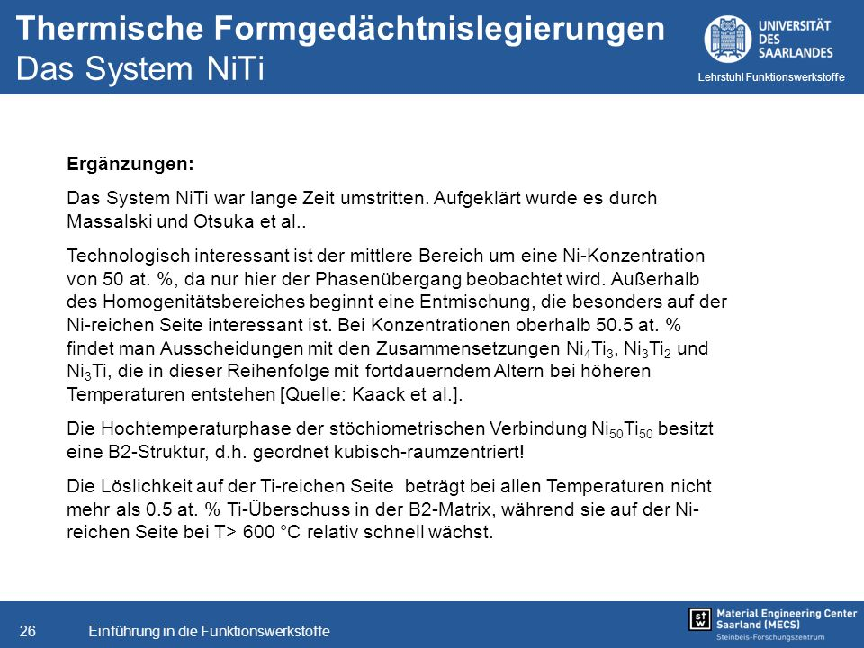 Thermische Formgedächtnislegierungen Das System NiTi