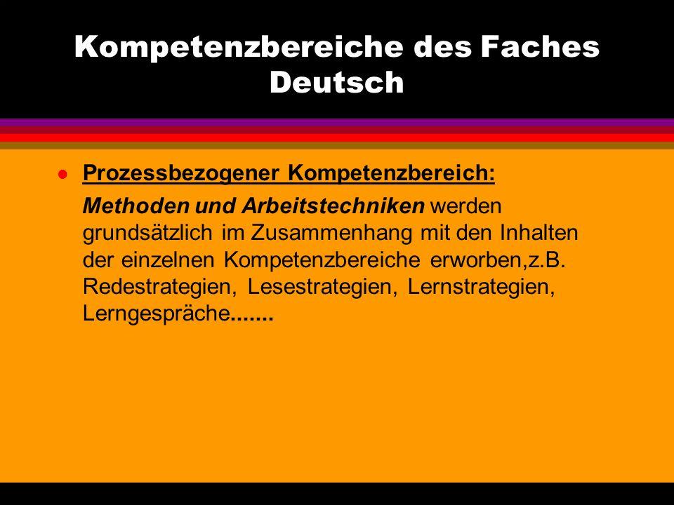 Kompetenzbereiche des Faches Deutsch