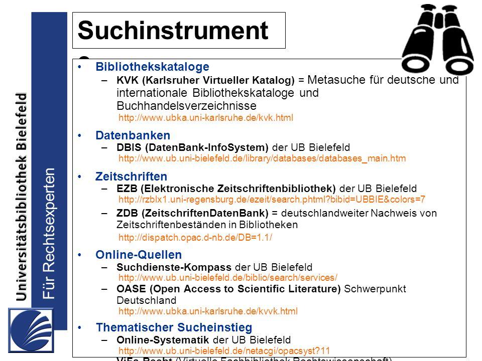Suchinstrument e Bibliothekskataloge Datenbanken Zeitschriften