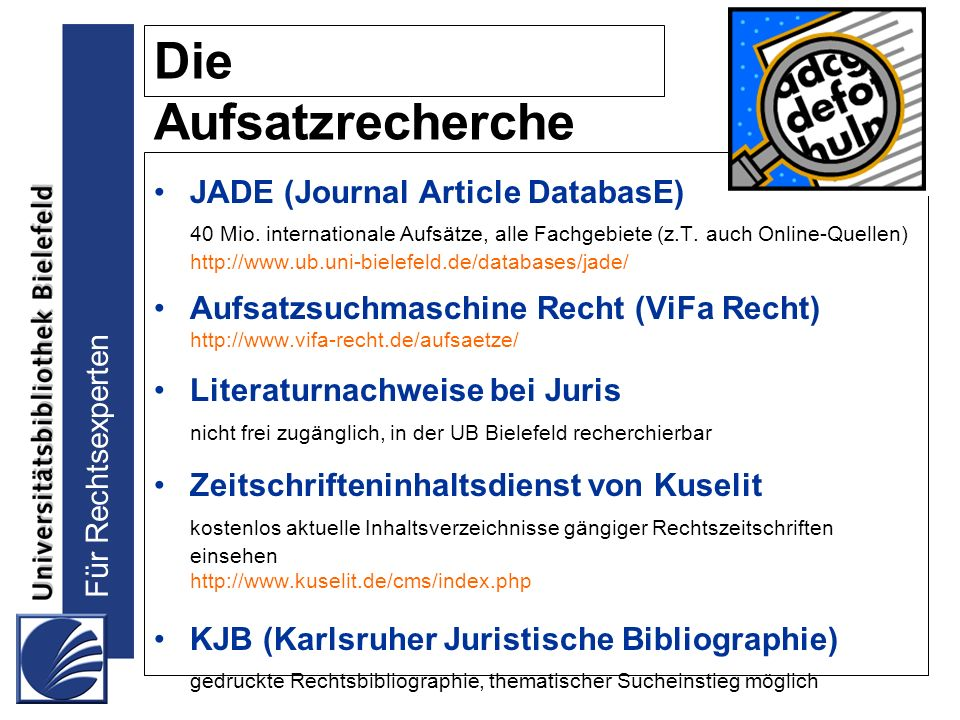 Die Aufsatzrecherche JADE (Journal Article DatabasE)