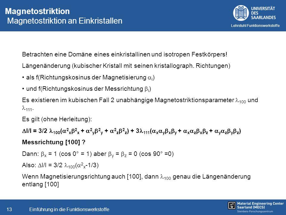 Magnetostriktion Magnetostriktion an Einkristallen