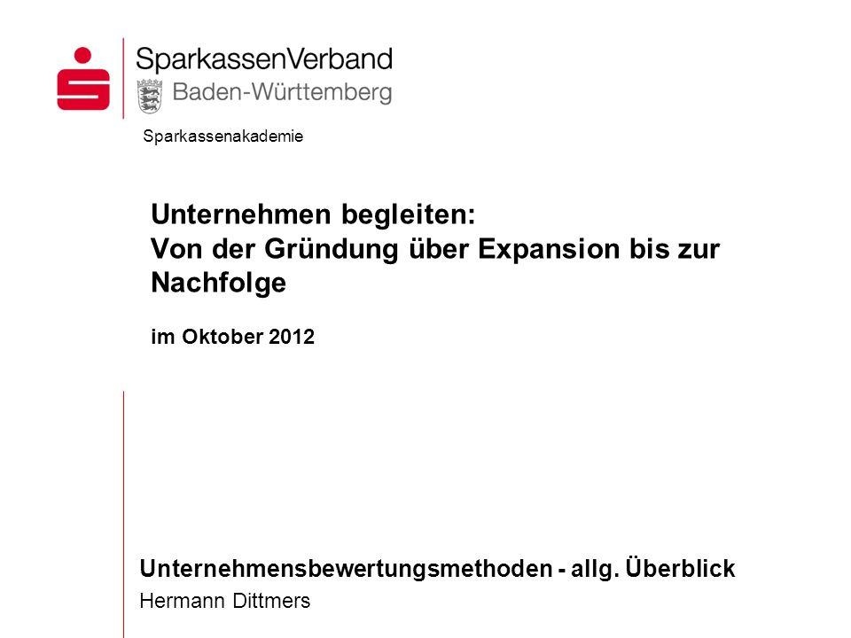 Unternehmensbewertungsmethoden - allg. Überblick Hermann Dittmers