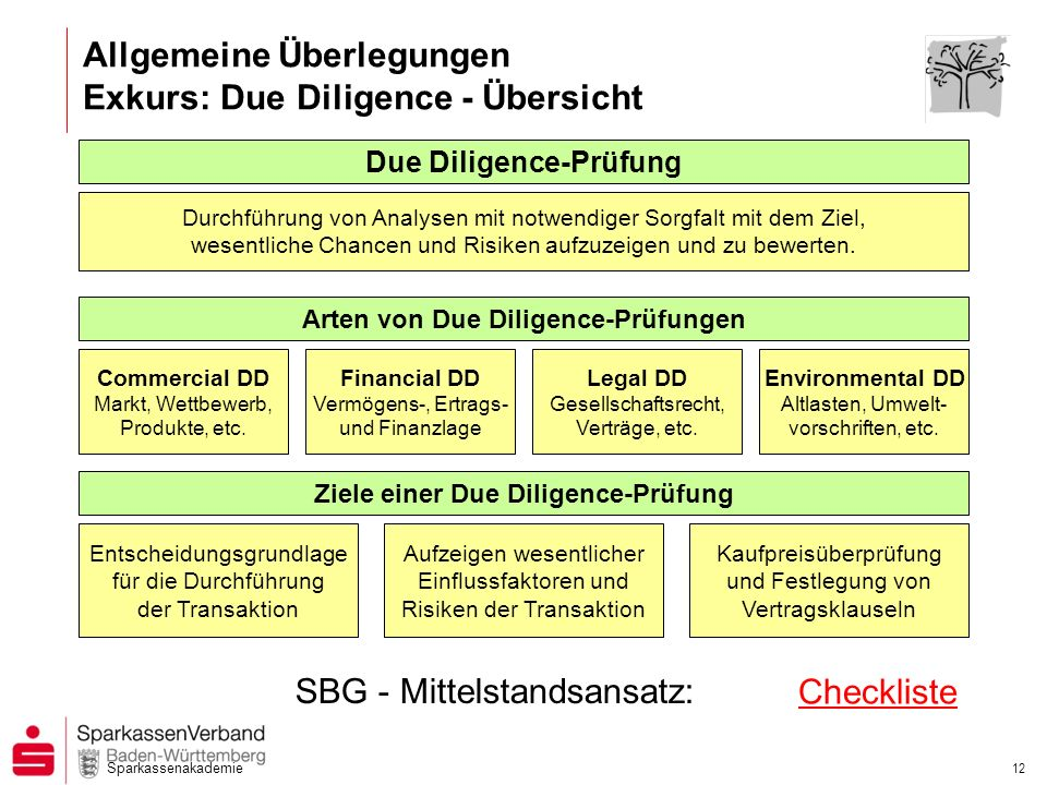 Allgemeine Überlegungen Exkurs: Due Diligence - Übersicht