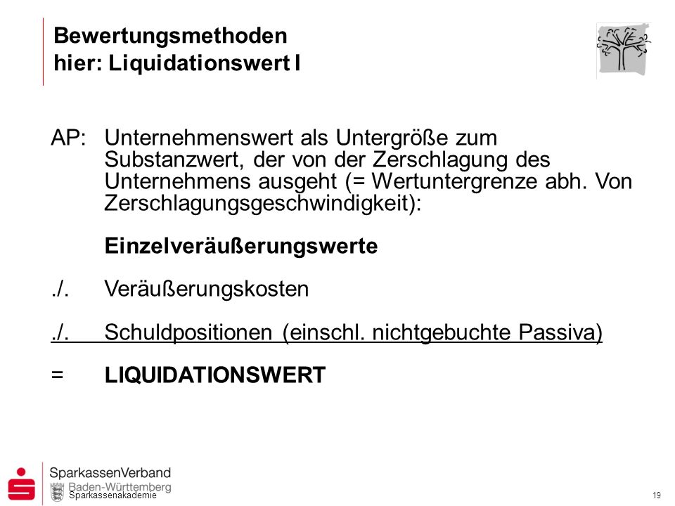 Bewertungsmethoden hier: Liquidationswert I