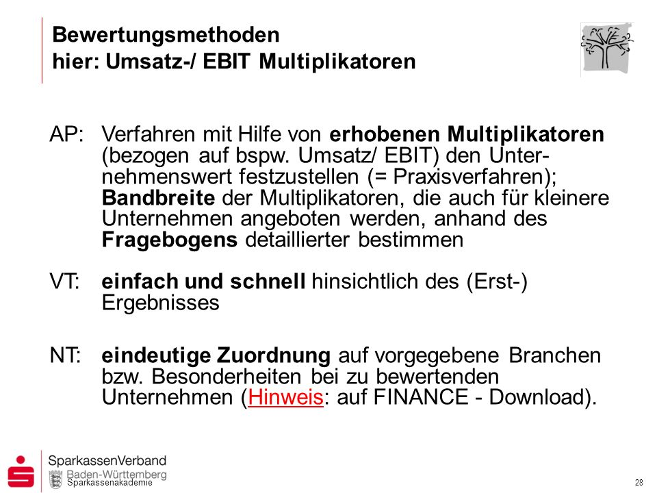 Bewertungsmethoden hier: Umsatz-/ EBIT Multiplikatoren