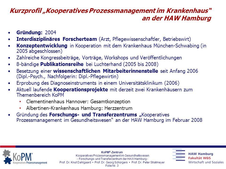 """Kurzprofil """"Kooperatives Prozessmanagement im Krankenhaus an der HAW Hamburg"""