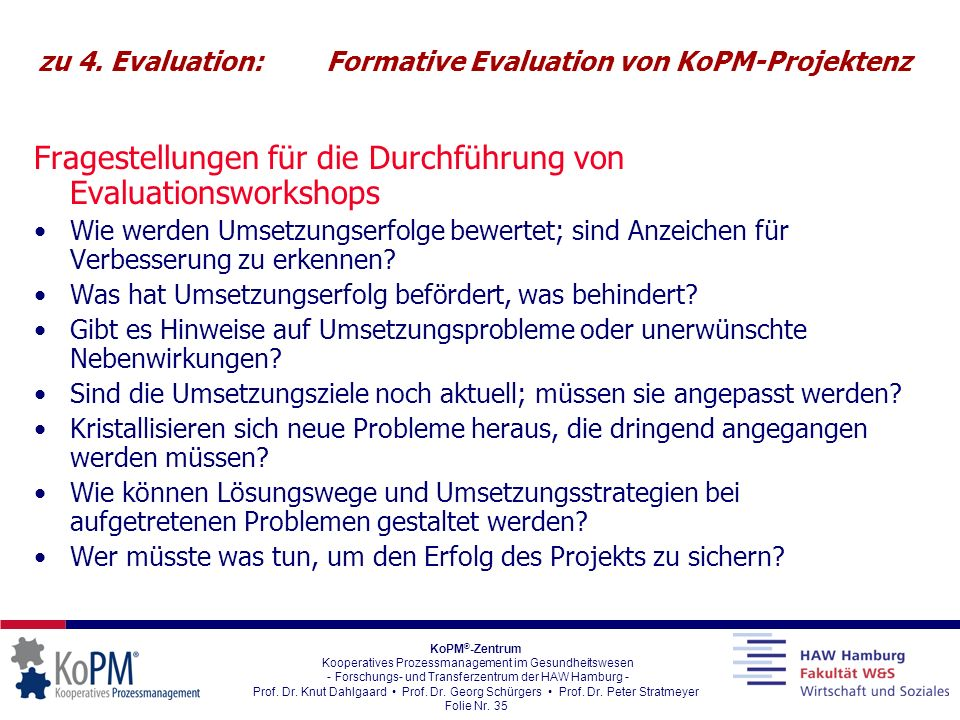 zu 4. Evaluation: Formative Evaluation von KoPM-Projektenz
