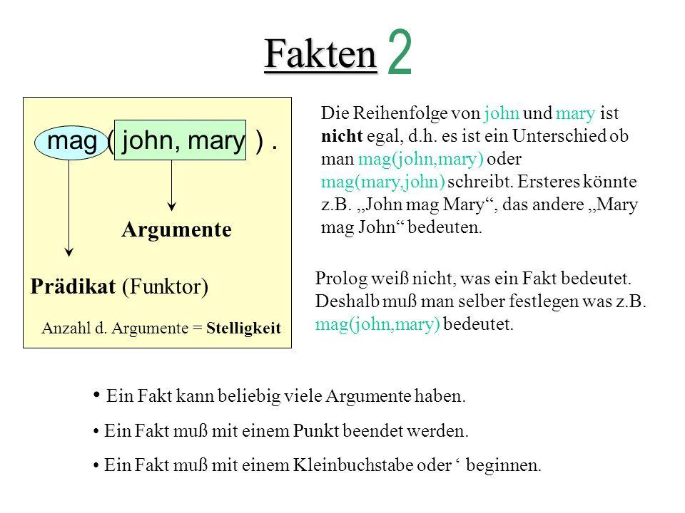Fakten 2 mag ( john, mary ) . Argumente Prädikat (Funktor)