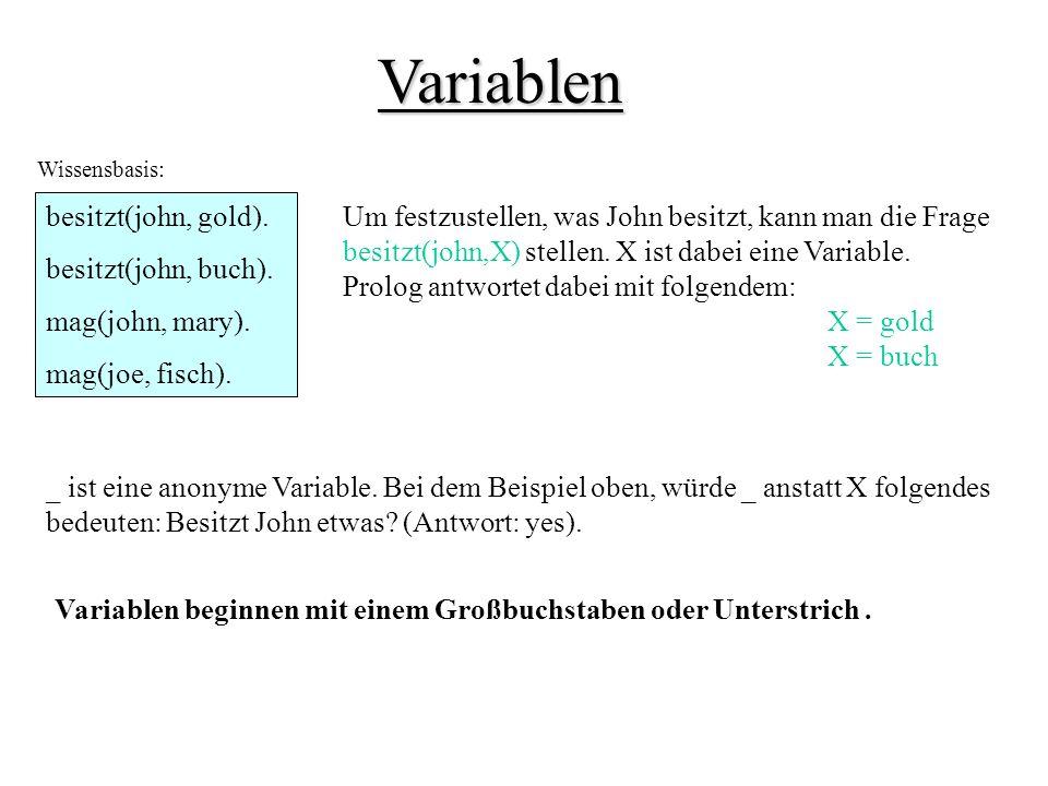 Variablen besitzt(john, gold). besitzt(john, buch). mag(john, mary).