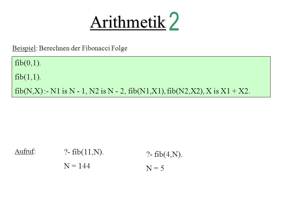 Arithmetik 2 fib(0,1). fib(1,1).