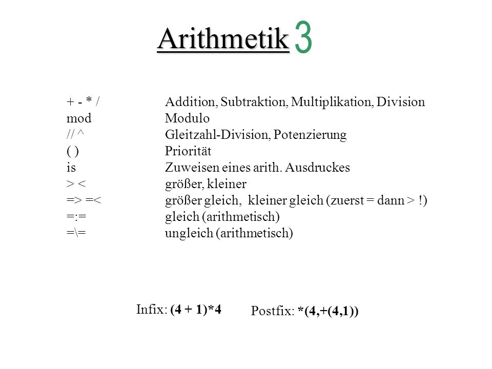 Arithmetik 3 + - * / Addition, Subtraktion, Multiplikation, Division