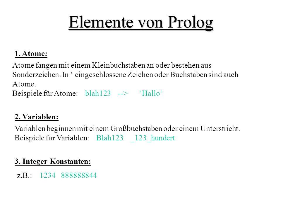 Elemente von Prolog 1. Atome: