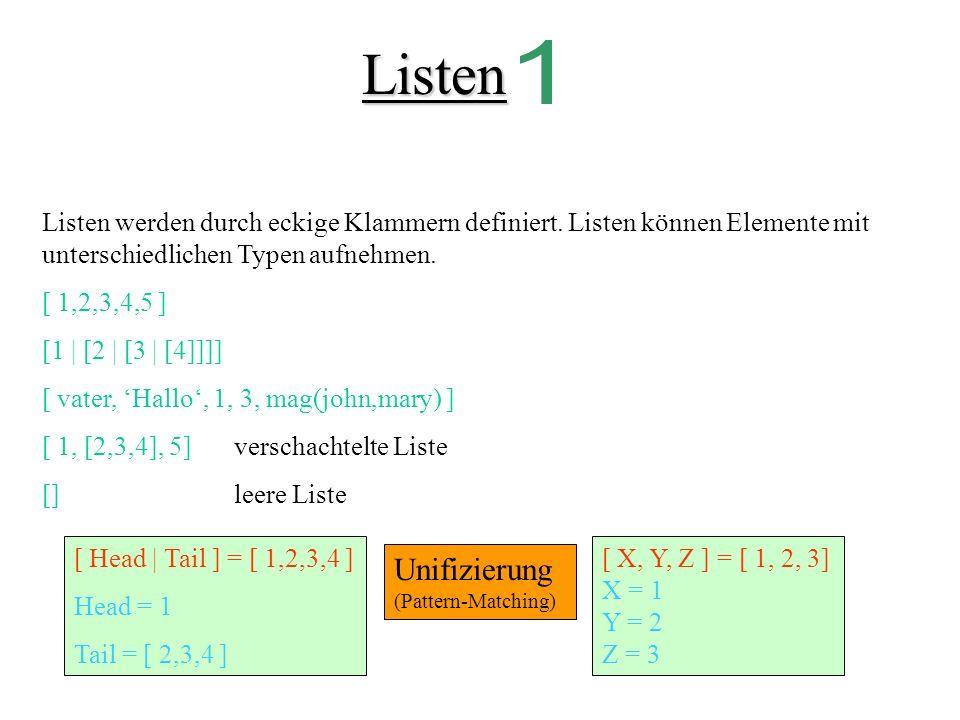Listen 1. Listen werden durch eckige Klammern definiert. Listen können Elemente mit unterschiedlichen Typen aufnehmen.