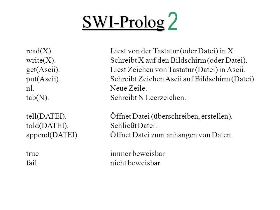 SWI-Prolog 2 read(X). Liest von der Tastatur (oder Datei) in X