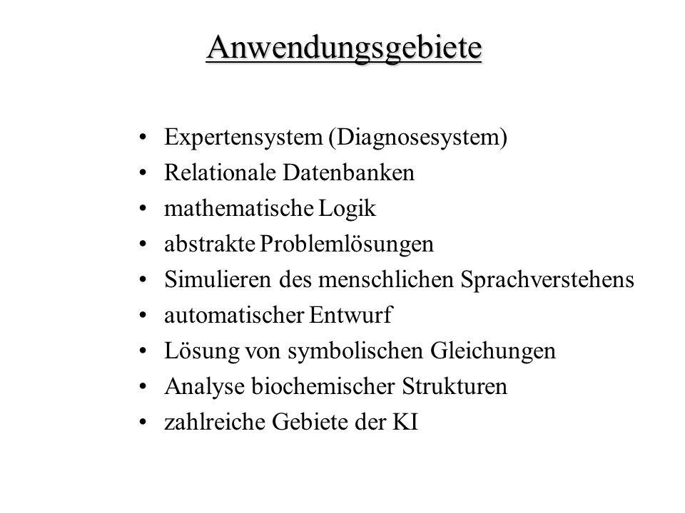 Anwendungsgebiete Expertensystem (Diagnosesystem)