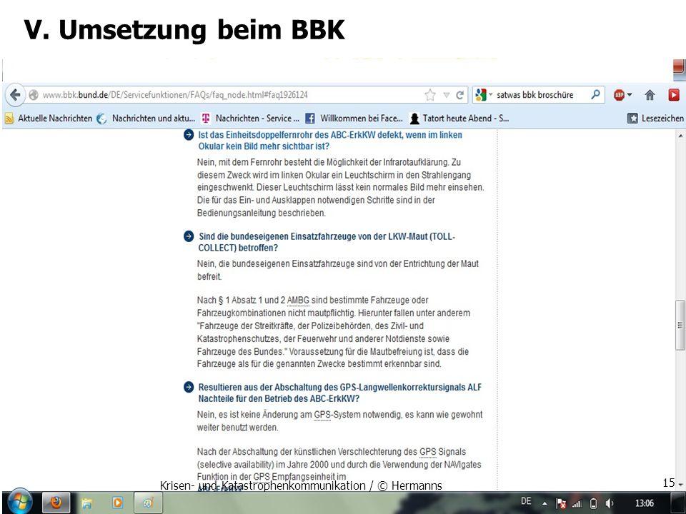 V. Umsetzung beim BBK Krisen- und Katastrophenkommunikation / © Hermanns