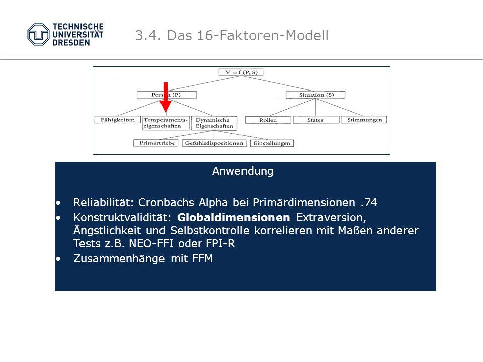 3.4. Das 16-Faktoren-Modell Anwendung