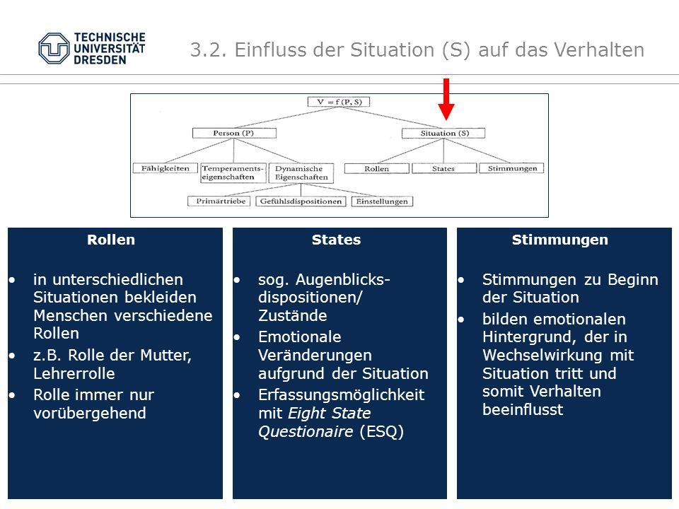 3.2. Einfluss der Situation (S) auf das Verhalten