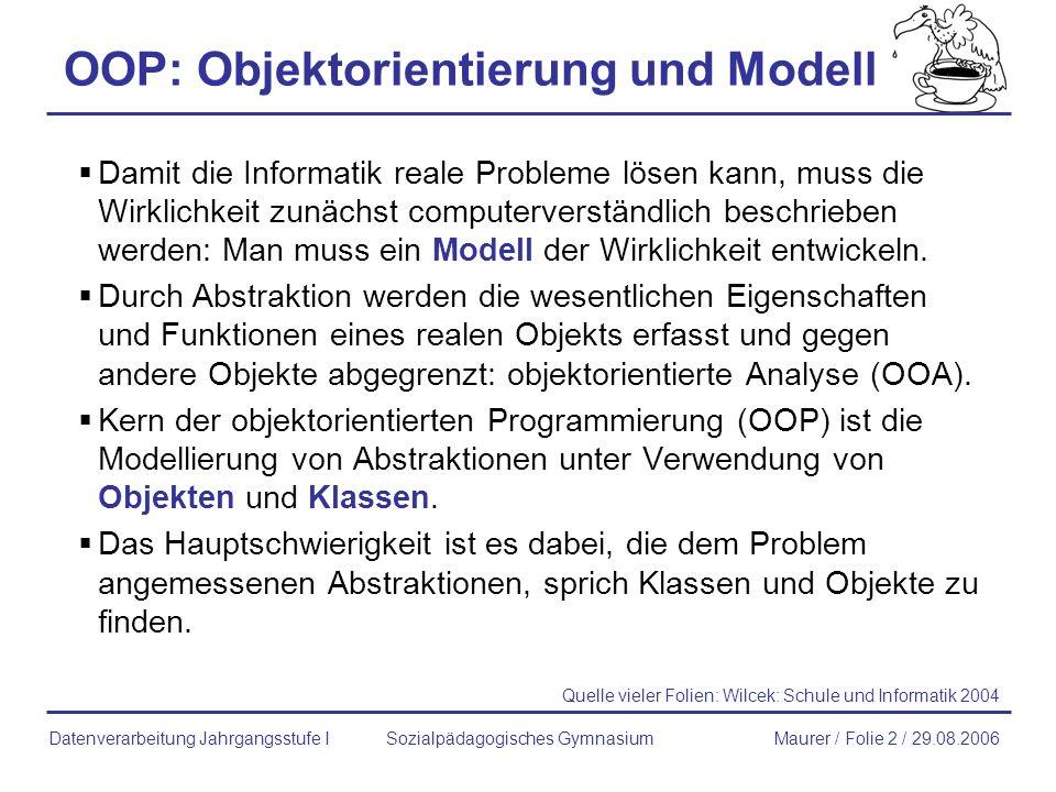 OOP: Objektorientierung und Modell