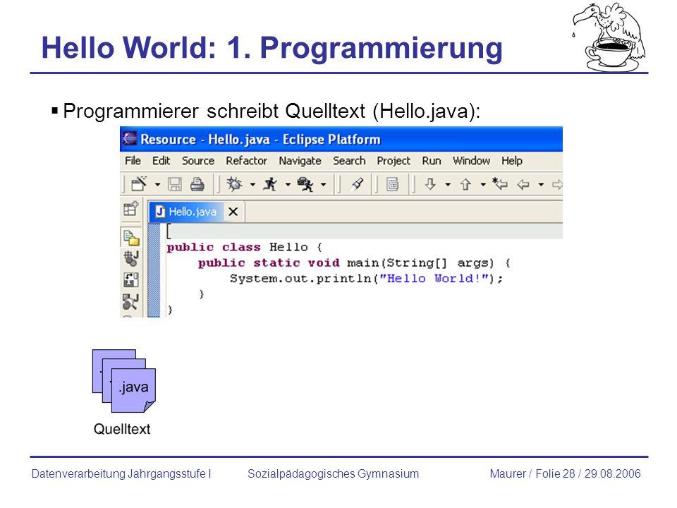 Hello World: 1. Programmierung
