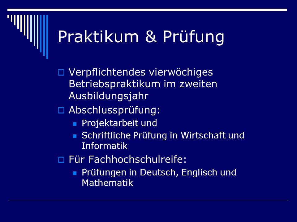 Praktikum & PrüfungVerpflichtendes vierwöchiges Betriebspraktikum im zweiten Ausbildungsjahr. Abschlussprüfung: