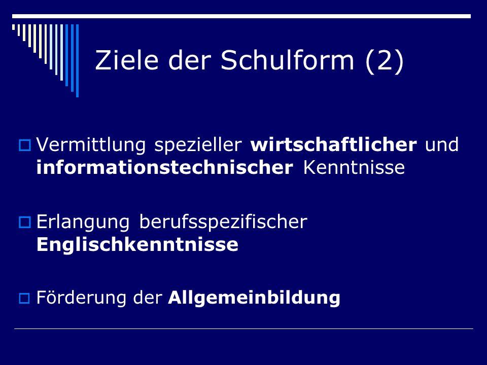 Ziele der Schulform (2) Vermittlung spezieller wirtschaftlicher und informationstechnischer Kenntnisse.