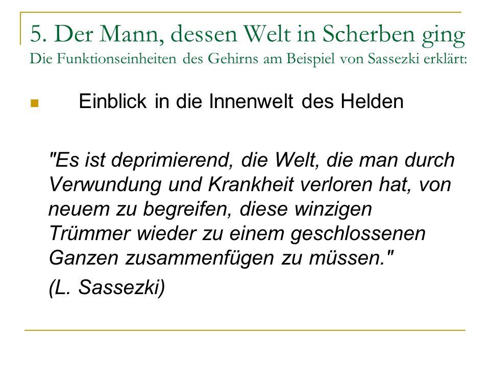 5. Der Mann, dessen Welt in Scherben ging Die Funktionseinheiten des Gehirns am Beispiel von Sassezki erklärt: