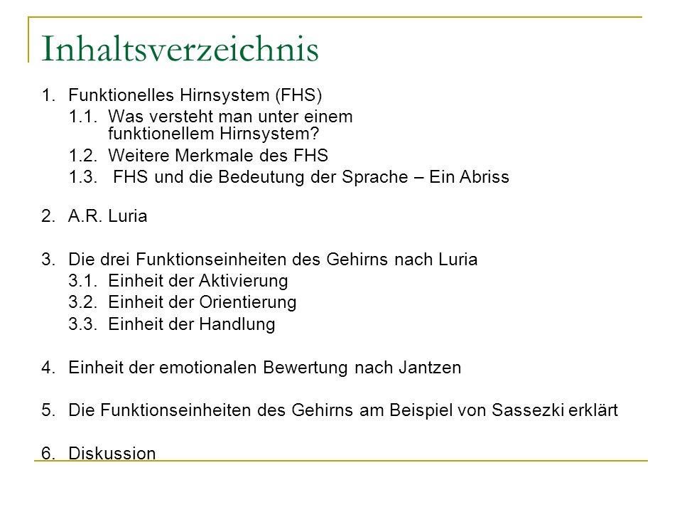 Inhaltsverzeichnis 1. Funktionelles Hirnsystem (FHS)