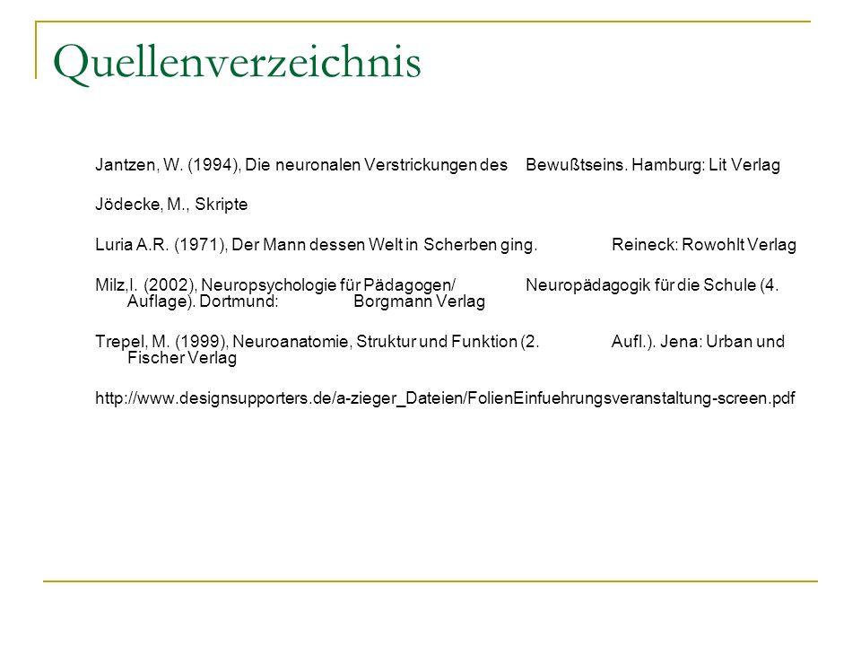 Quellenverzeichnis Jantzen, W. (1994), Die neuronalen Verstrickungen des Bewußtseins. Hamburg: Lit Verlag.